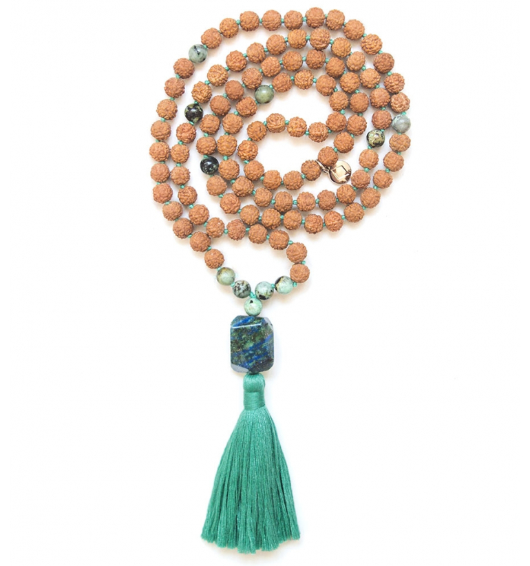 Prana Mala with African Turquoise and Rudraksha