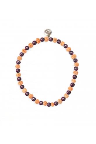 Garnet Cephei Bracelet with Garnet and natural Rudraksha of Mukhas Collection