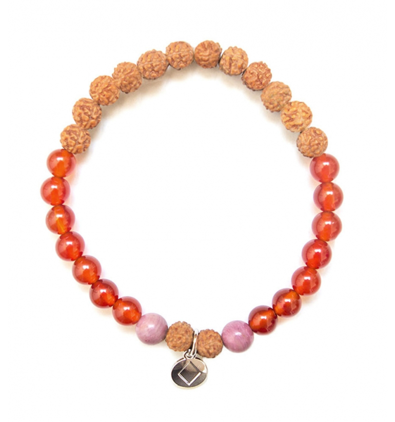 I Feel Happy Bracelet with natural stones and Rudraksha