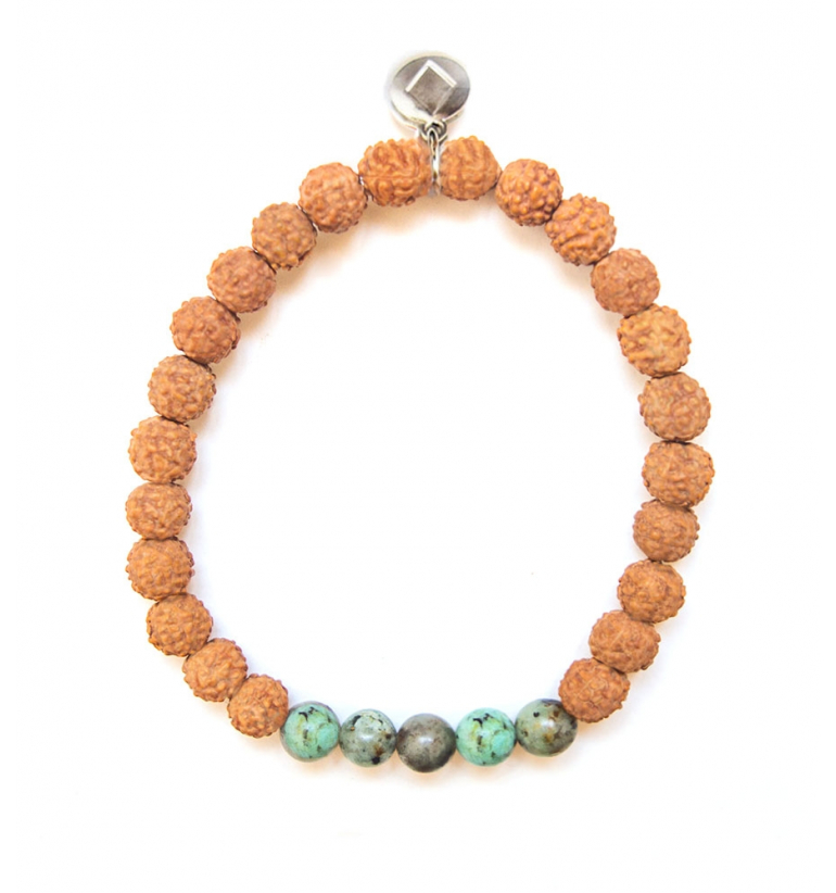 Prana Bracelet with African Turquoise and Rudraksha of Mukhas Collection