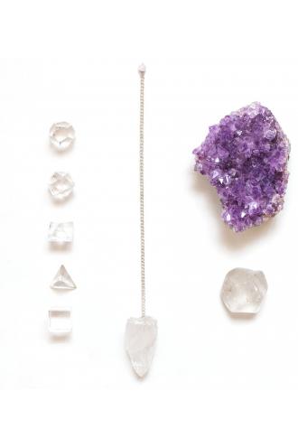 Pack Feng Shui con sólidos platónicos y Cuarzo Cristal de Mukhas