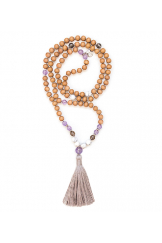 Resilient Mala with Sandalwood and authentic gemstones of Mukhas