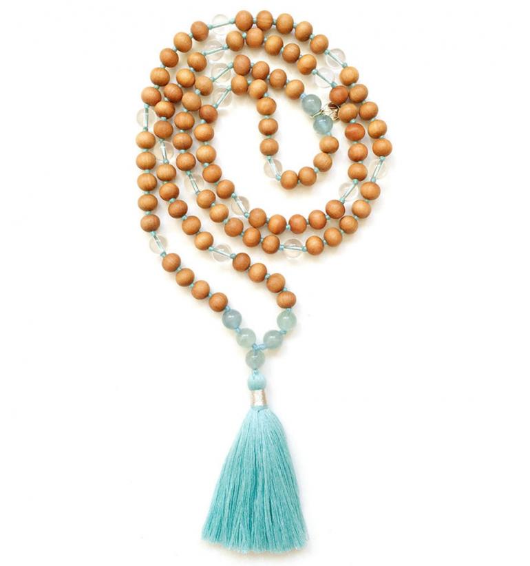 Talisman: Life Flow. Collar Mala de Gemas Naturales y Sándalo para Yoga y Meditación