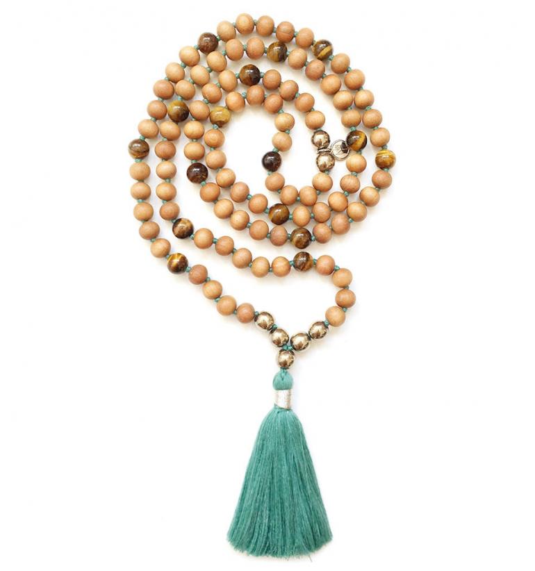 Talisman: Abundance. Collar Mala de Gemas Naturales y Sándalo para Yoga y Meditación