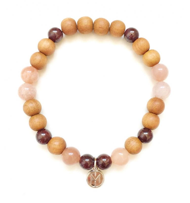 Talisman: Personal Power. Pulsera Mala de Gemas Naturales y Sándalo para Yoga y Meditación