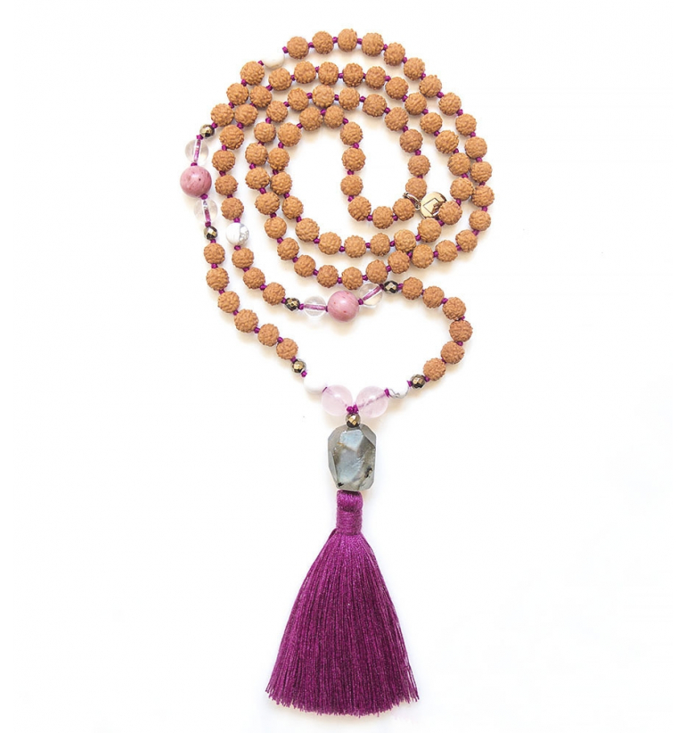 Coral Snake Mala Bead for yoga and meditation. Yoga jewel.