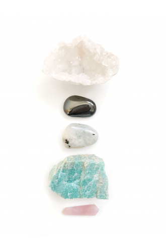 Special Edition Feminine Power with Rose Quartz, Moonstone, Amazonite, Geode and Hematite of Mukhas