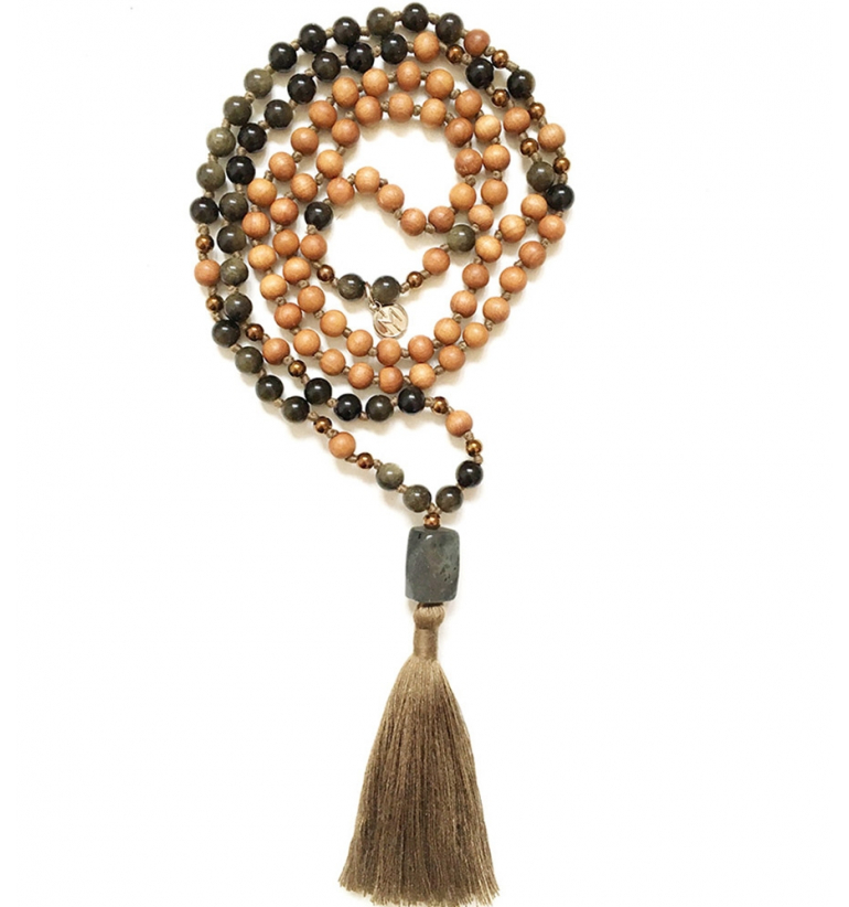 Guardian Mala with Golden Obsidian and Sandalwood