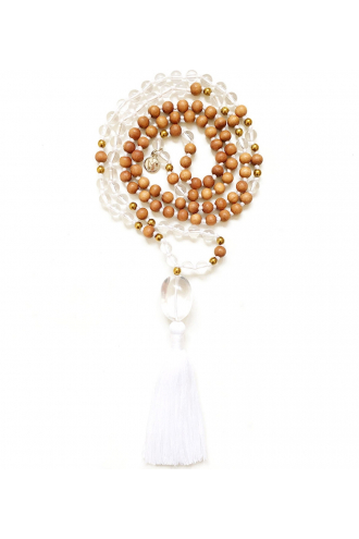Soul Mala with Crystal Quartz and Sandalwood