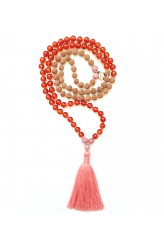 I Feel Happy Mala with natural stones and Rudraksha for yoga and meditation