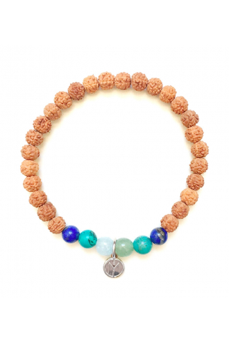 Danu Bracelet. Authentic Mala Bead of Rudraksha and gemstones