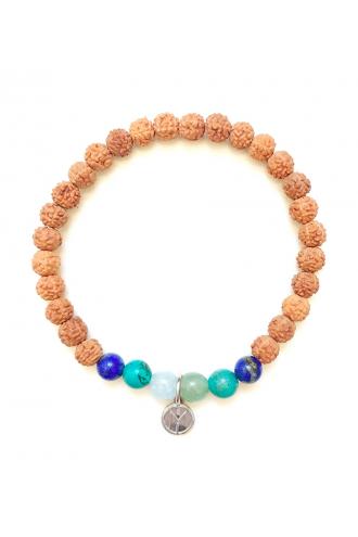 Danu Pulsera de piedras naturales y Rudraksha para yoga