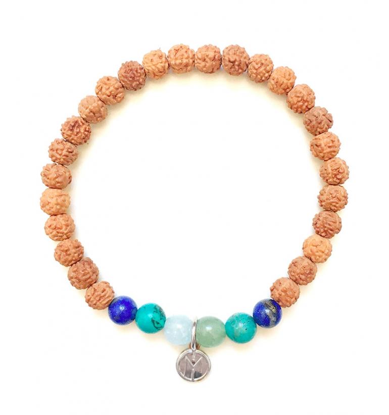 Danu Bracelet. Authentic Mala Bead of Rudraksha and gemstones