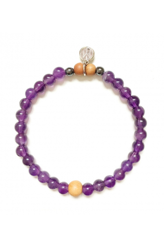 Tao bracelet with natural Amethyst and Sandalwood