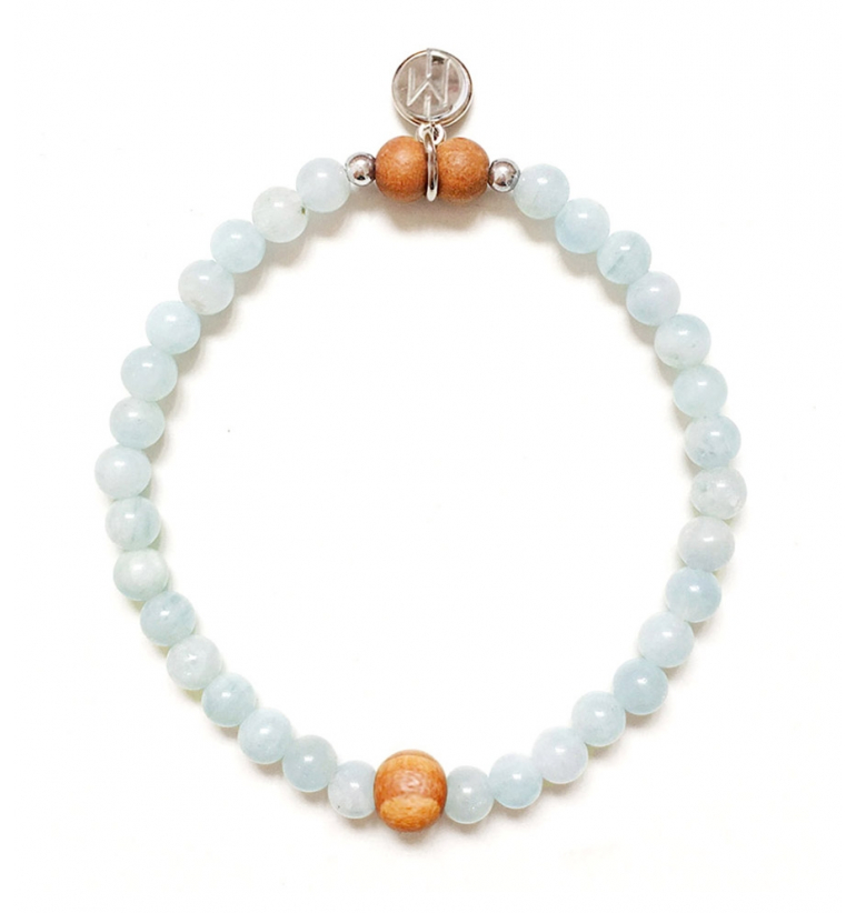 Aura Bracelet with natural Aquamarine and Sandalwood