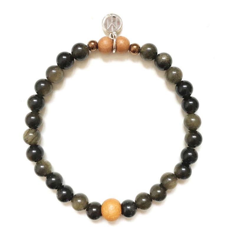 Guardian Bracelet with Golden Obsidian and Sandalwood
