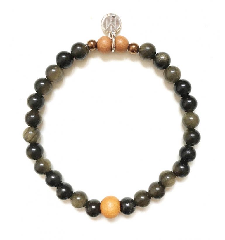 Guardian Bracelet with Golden Obsidian and Sandalwood