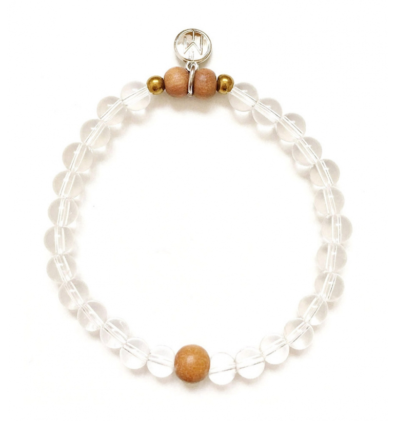 Soul bracelet with Crystal Quartz and Sandalwood