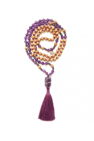 Tao Mala with natural Amethyst and Sandalwood