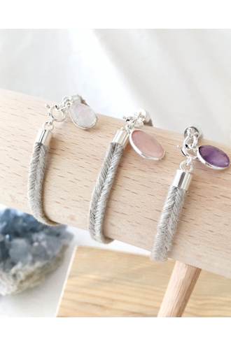 Moons Bracelet of Linen with natural stones and Silver, of Mukhas Collection