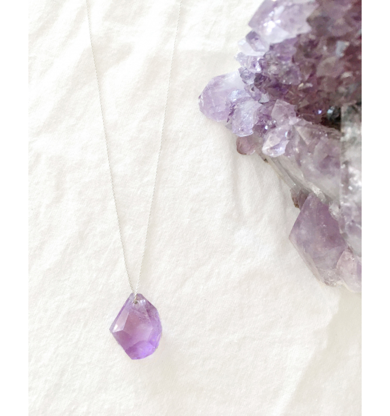 Phoenix necklace with Amethyst and Silver, of Mukhas Collection
