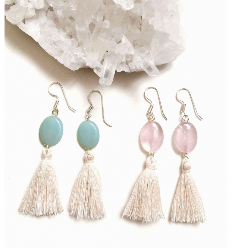 Eclipse Amazonite and Rose Quartz Earrings with chemical free Silver of Mukhas Collection