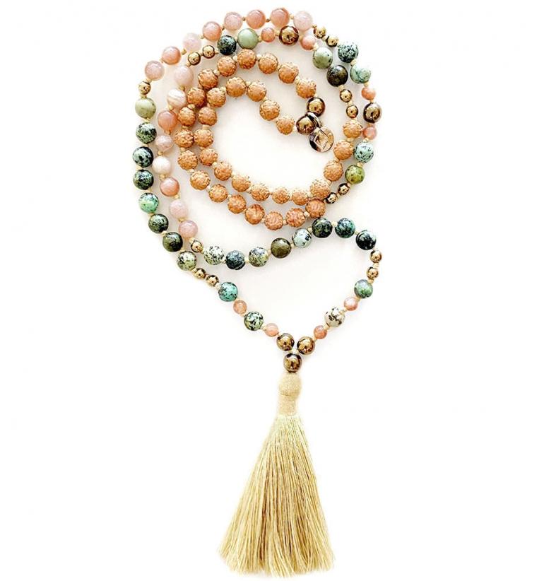 Flora Mala. Mala Bead for yoga and meditation with natural stones